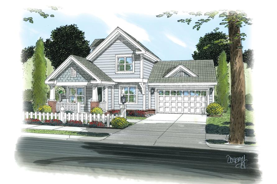 Front elevation of Cottage home (ThePlanCollection: House Plan #178-1260)