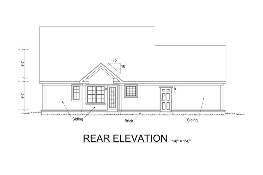 178-1261: Home Plan Rear Elevation