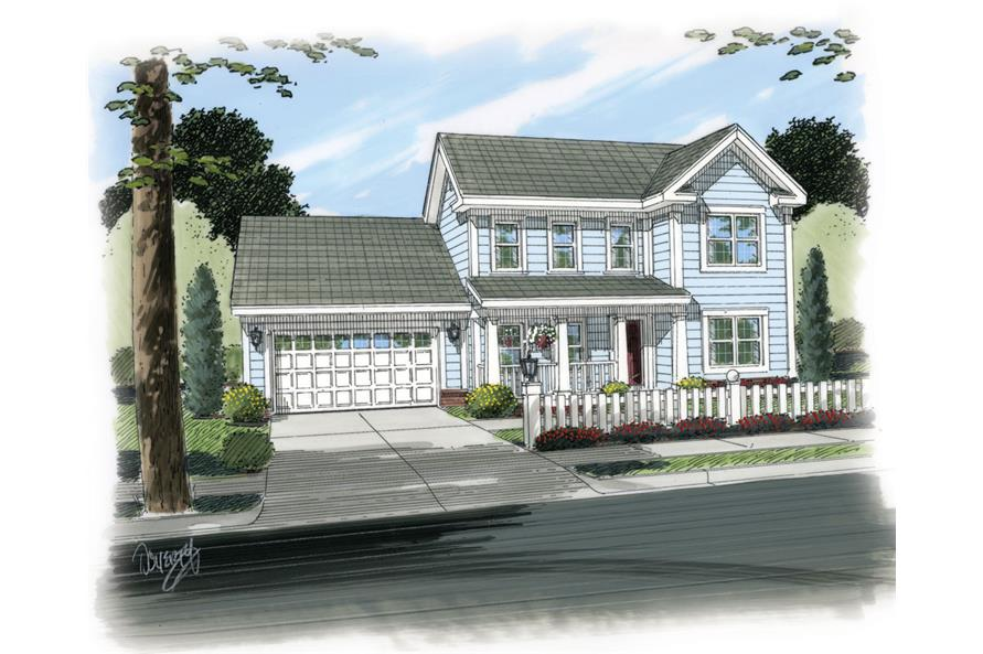 Front elevation of Traditional home (ThePlanCollection: House Plan #178-1261)