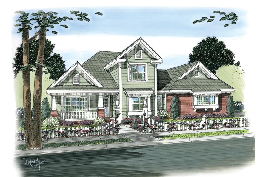 Front elevation of Craftsman home (ThePlanCollection: House Plan #178-1263)