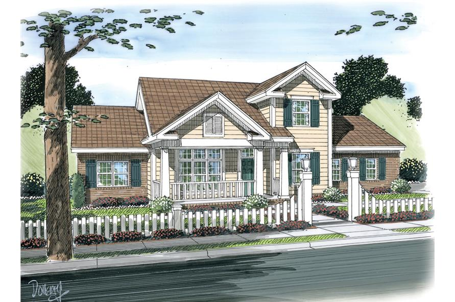 Front elevation of Traditional home (ThePlanCollection: House Plan #178-1264)