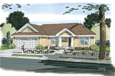 3-Bedroom, 1142 Sq Ft Traditional House Plan - 178-1265 - Front Exterior
