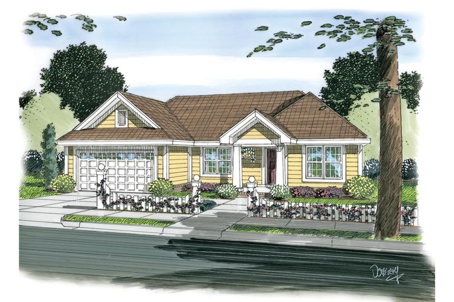 Front elevation of Traditional home (ThePlanCollection: House Plan #178-1265)