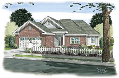 3-Bedroom, 1121 Sq Ft Traditional House Plan - 178-1266 - Front Exterior