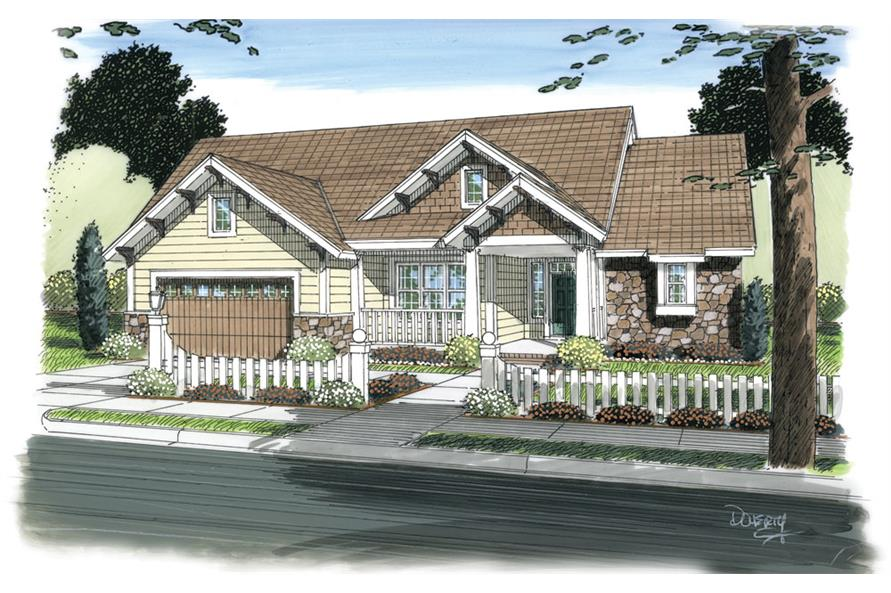 Front elevation of Ranch home (ThePlanCollection: House Plan #178-1267)