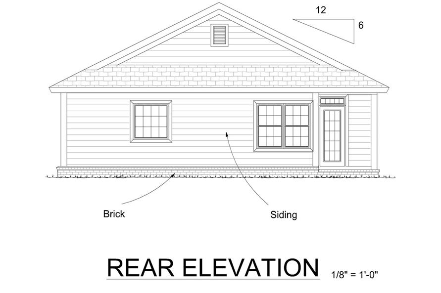 Home Plan Rear Elevation of this 3-Bedroom,1253 Sq Ft Plan -178-1268