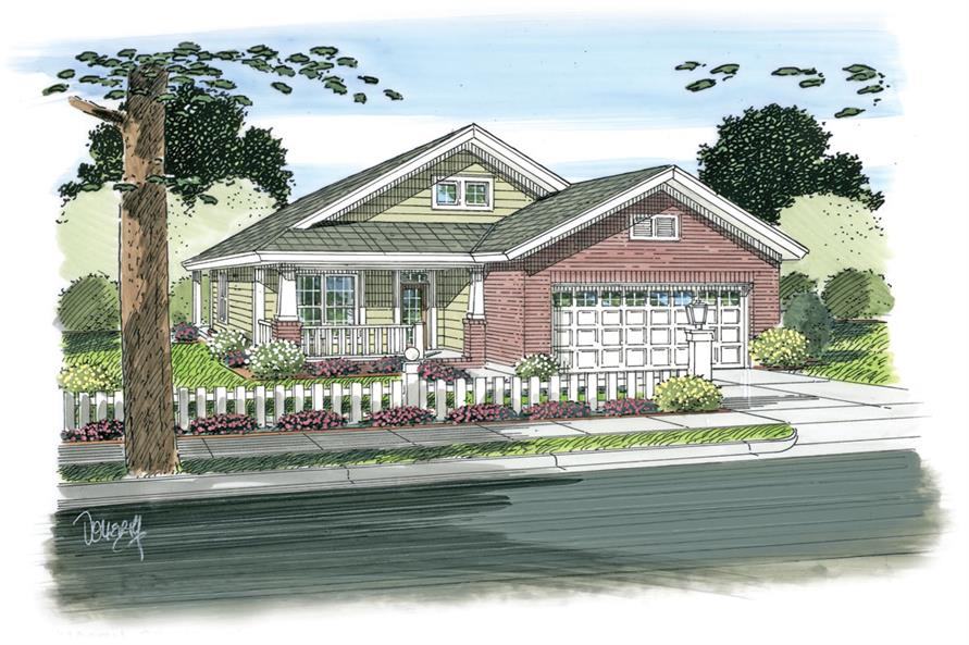 Front elevation of Ranch home (ThePlanCollection: House Plan #178-1268)