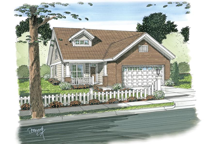 Front elevation of Craftsman home (ThePlanCollection: House Plan #178-1269)