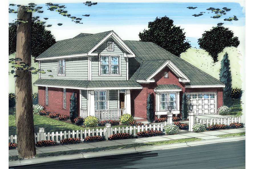 Front elevation of Traditional home (ThePlanCollection: House Plan #178-1272)