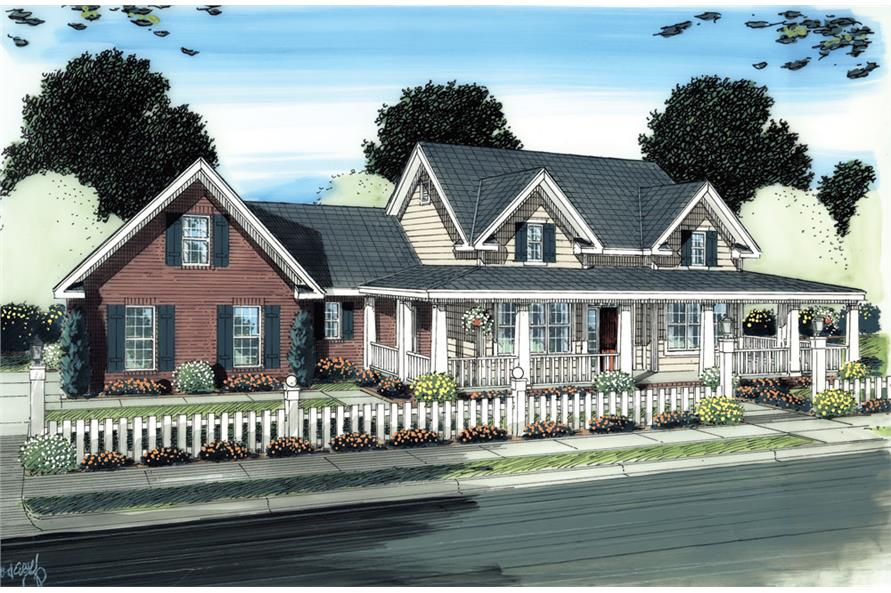 Front elevation of Ranch home (ThePlanCollection: House Plan #178-1273)