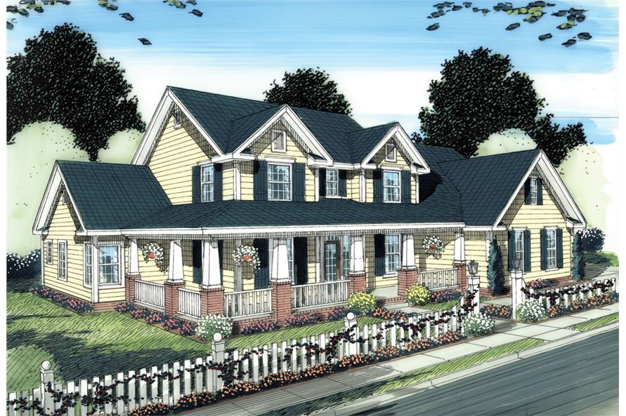 Front elevation of Colonial home (ThePlanCollection: House Plan #178-1274)