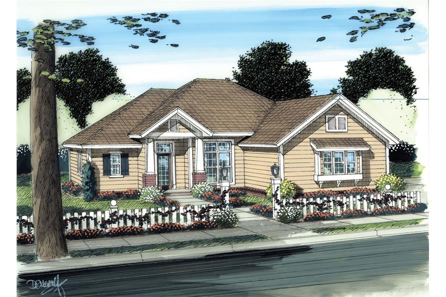 Front elevation of Craftsman home (ThePlanCollection: House Plan #178-1275)