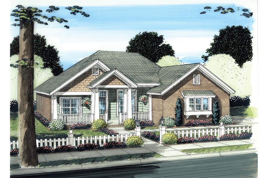 Front elevation of Traditional home (ThePlanCollection: House Plan #178-1276)