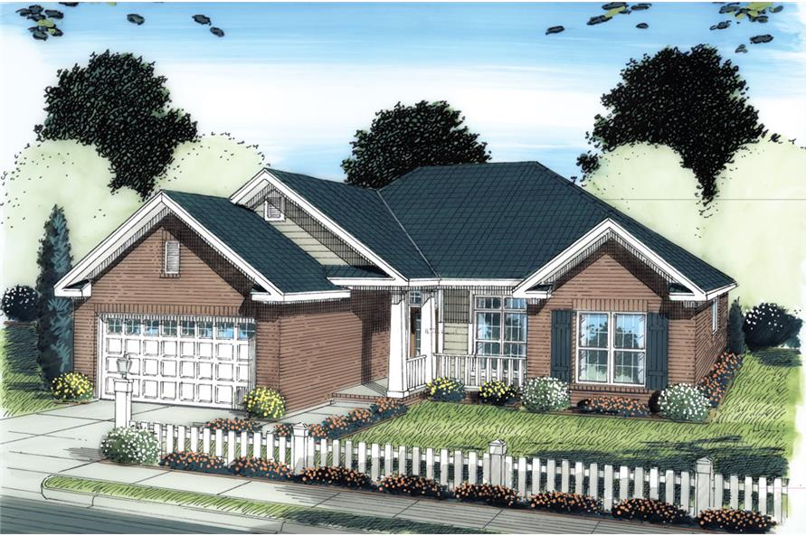 Front elevation of Traditional home (ThePlanCollection: House Plan #178-1277)
