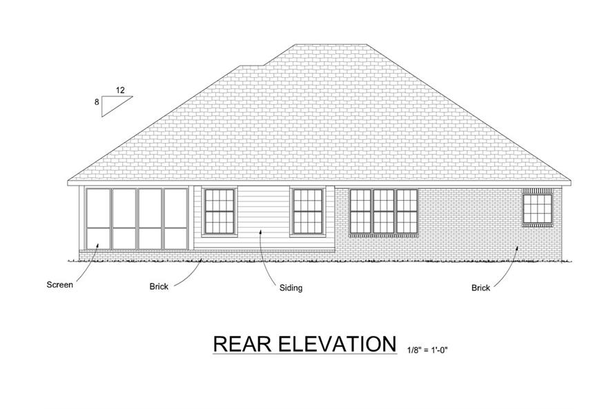 178-1280: Home Plan Rear Elevation