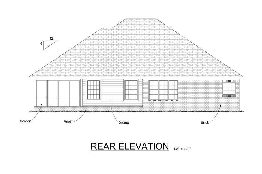 178-1280: Home Plan Rear Elevation
