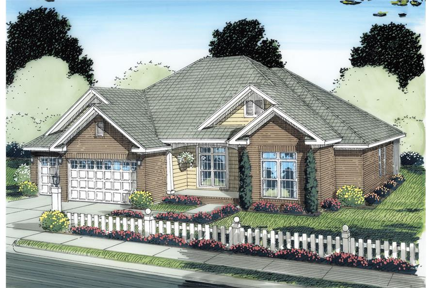 Front elevation of Ranch home (ThePlanCollection: House Plan #178-1280)