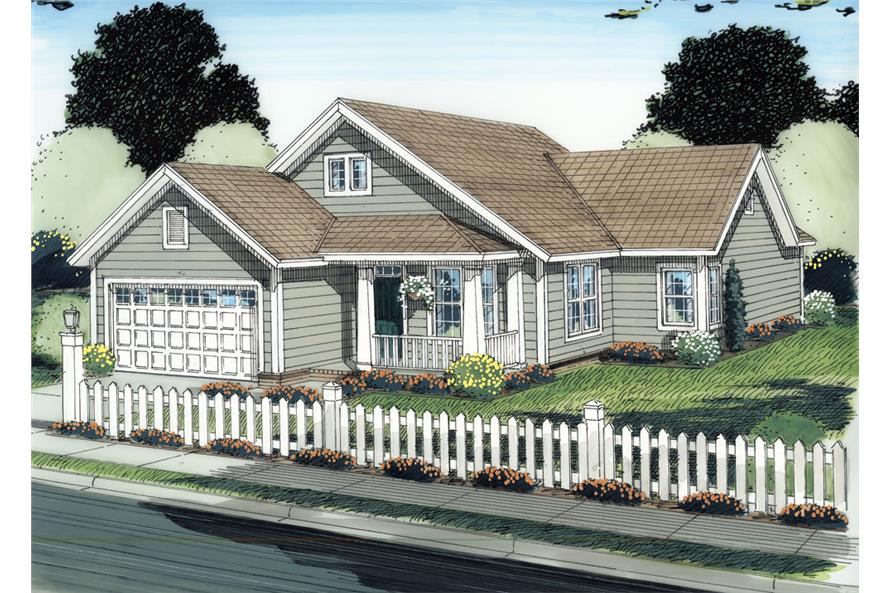 Front elevation of Craftsman home (ThePlanCollection: House Plan #178-1282)
