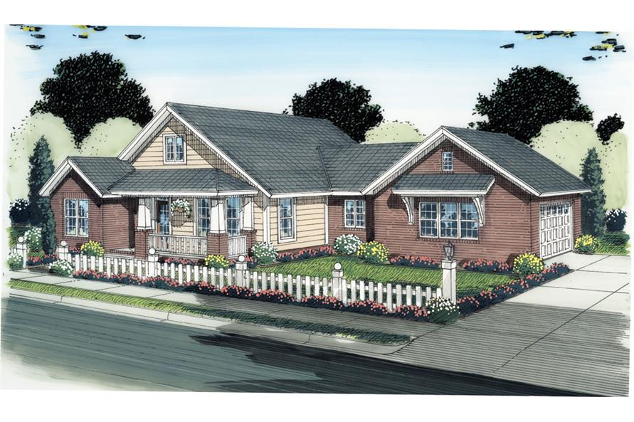 Front elevation of Ranch home (ThePlanCollection: House Plan #178-1283)