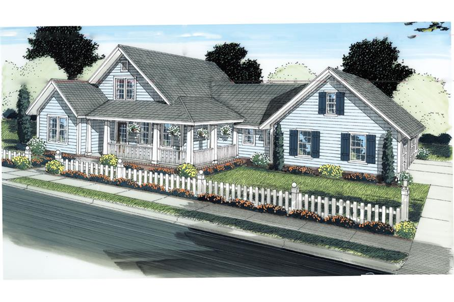 Front elevation of Craftsman home (ThePlanCollection: House Plan #178-1284)