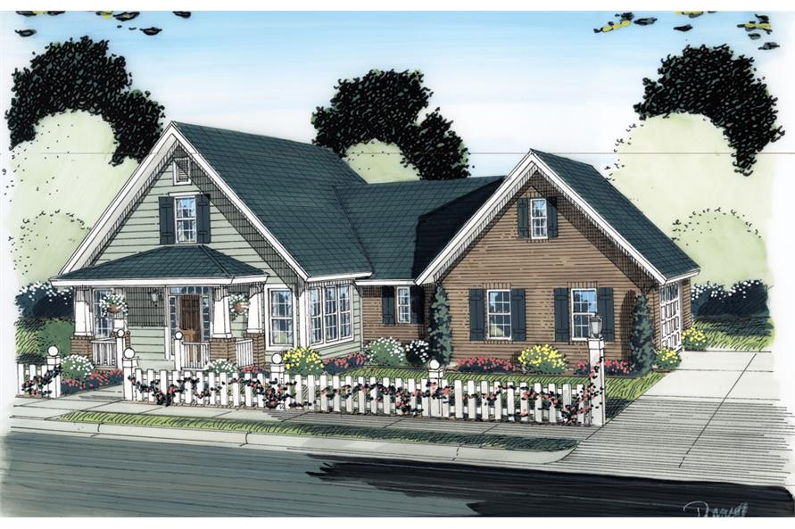 Front elevation of Traditional home (ThePlanCollection: House Plan #178-1285)