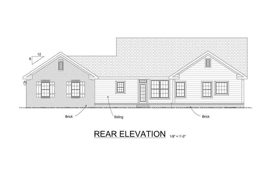 178-1287: Home Plan Rear Elevation