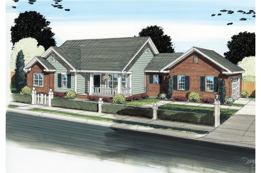 Front elevation of Traditional home (ThePlanCollection: House Plan #178-1287)