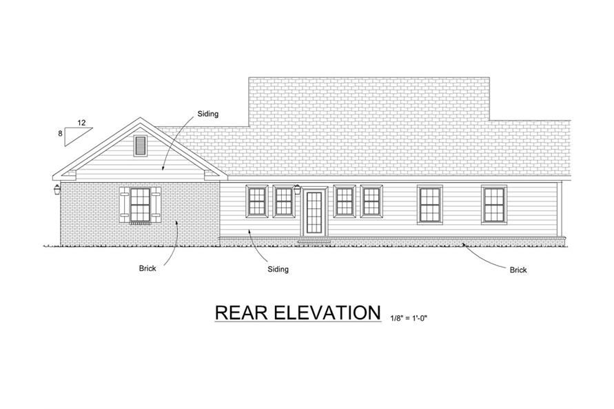 178-1288: Home Plan Rear Elevation