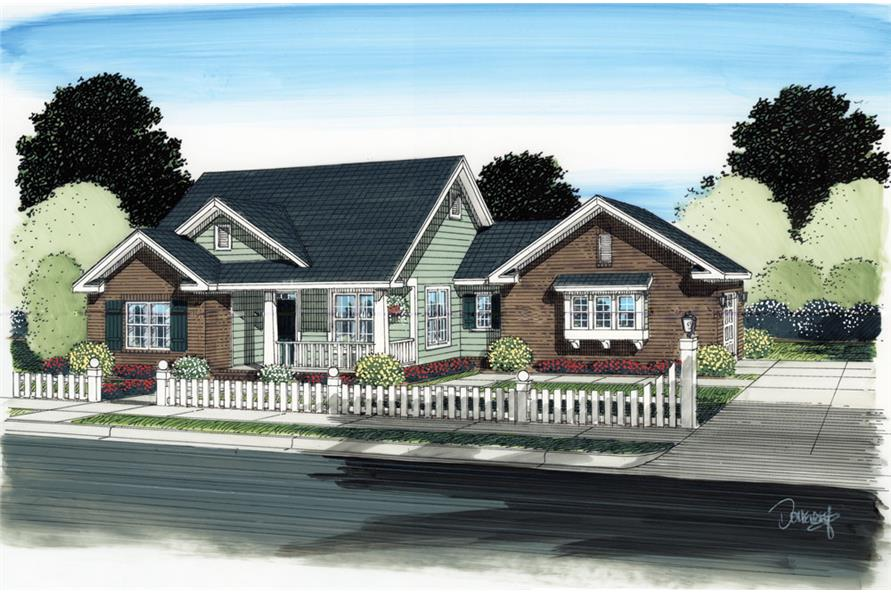 Front elevation of Traditional home (ThePlanCollection: House Plan #178-1288)