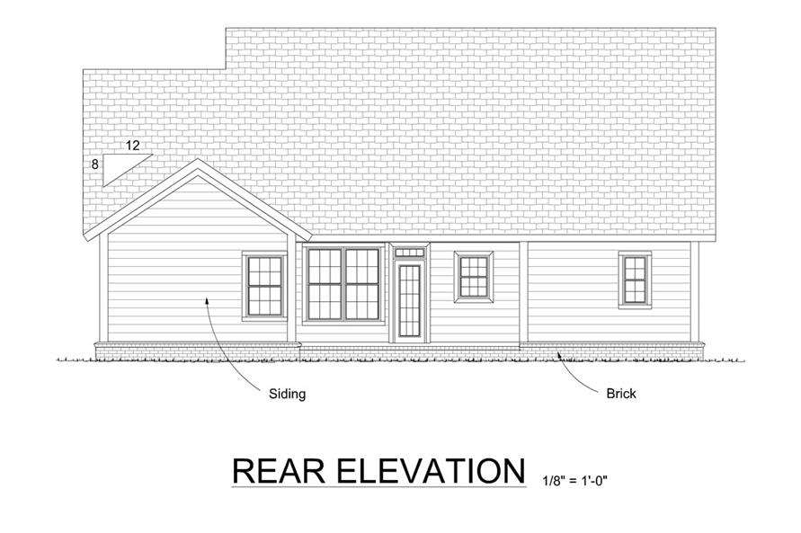 178-1289: Home Plan Rear Elevation