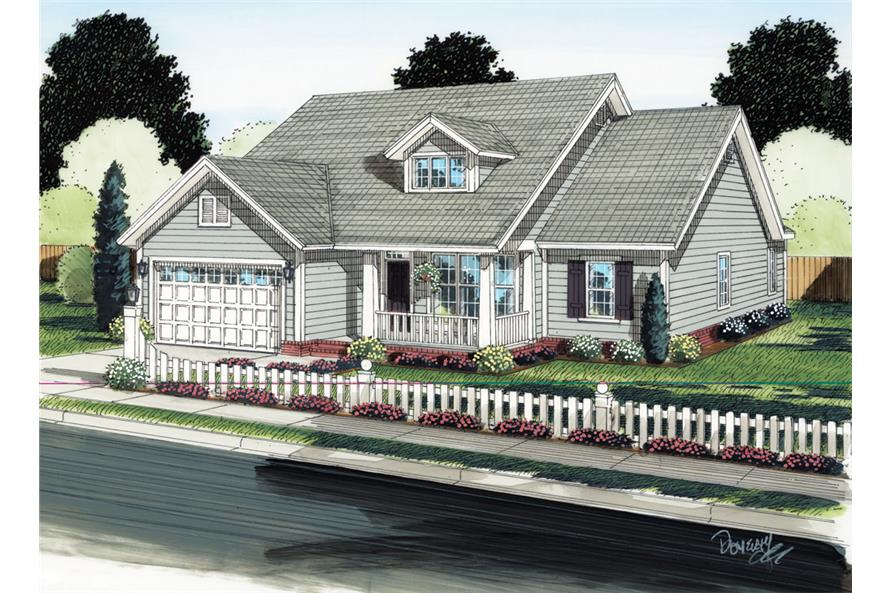 Front elevation of Ranch home (ThePlanCollection: House Plan #178-1289)