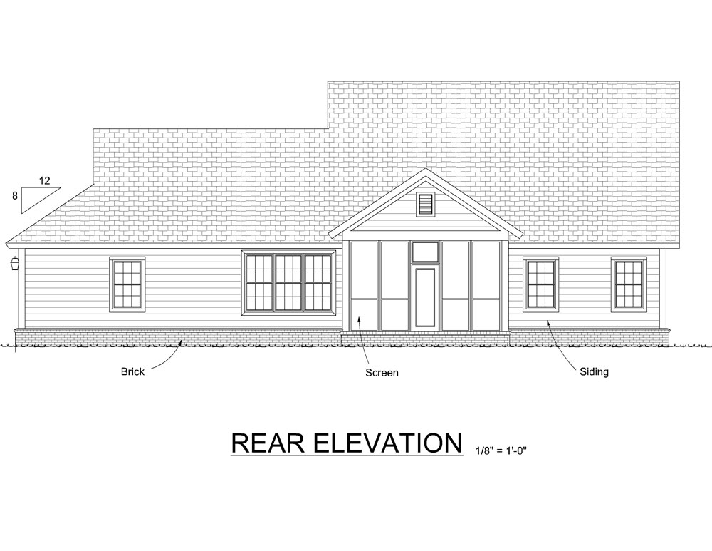Traditional house plan 178 1290 4 bedrm 2291 sq ft home for What is rear elevation