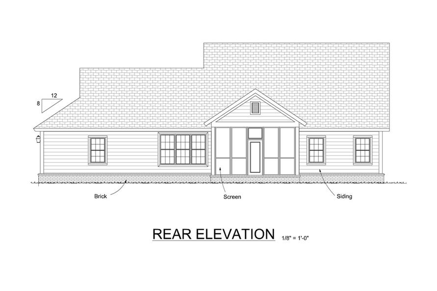 178-1290: Home Plan Rear Elevation