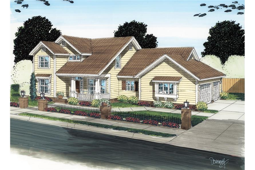 Front elevation of Traditional home (ThePlanCollection: House Plan #178-1290)