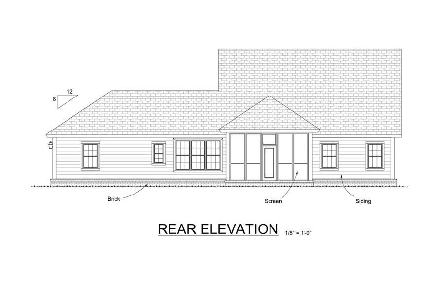 178-1291: Home Plan Rear Elevation