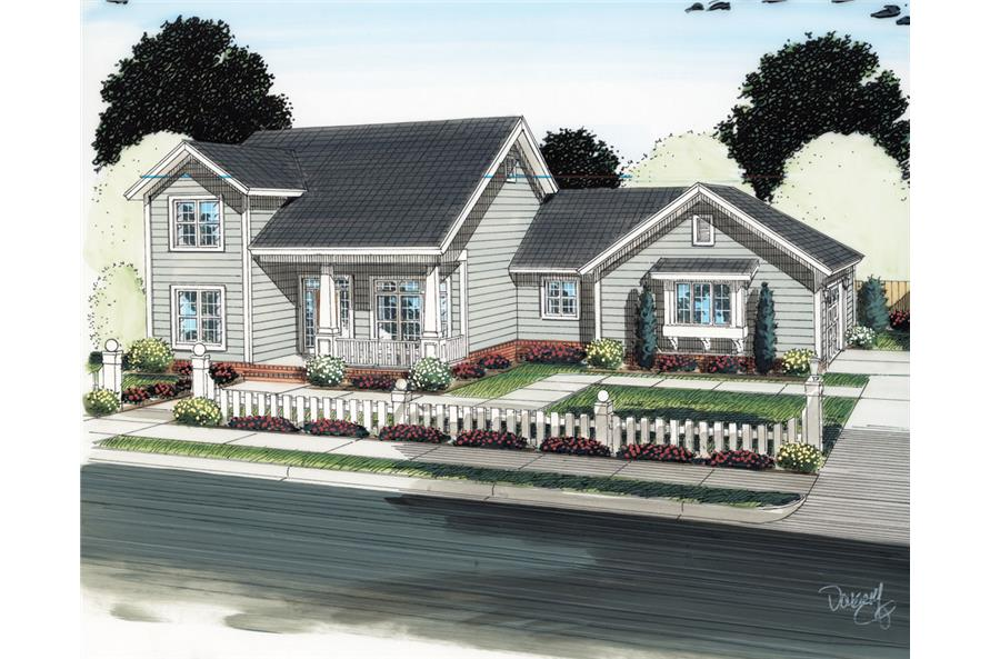 Front elevation of Craftsman home (ThePlanCollection: House Plan #178-1291)