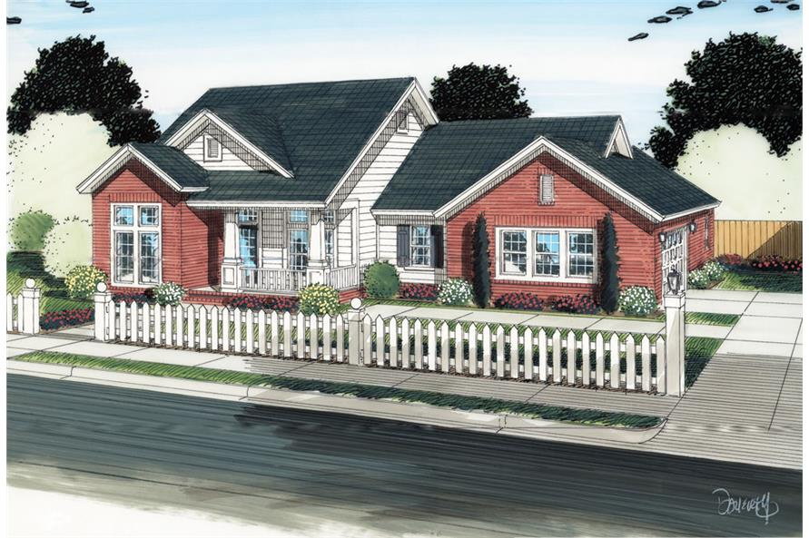 Front elevation of Ranch home (ThePlanCollection: House Plan #178-1292)