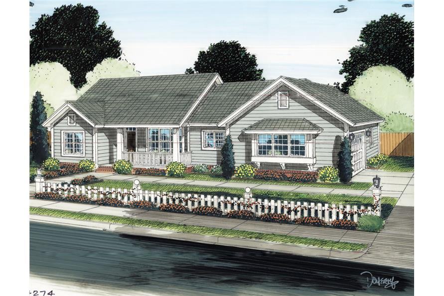 Front elevation of Ranch home (ThePlanCollection: House Plan #178-1293)