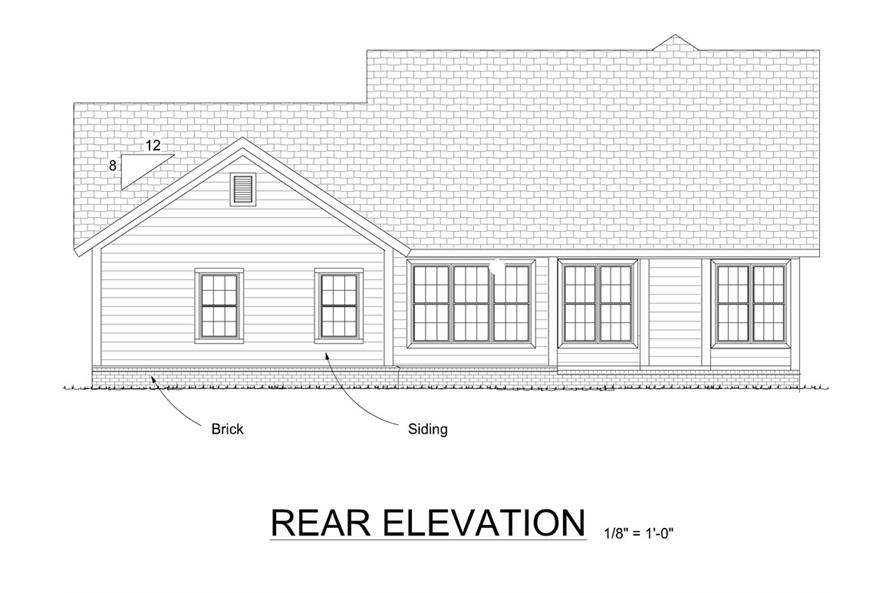 178-1295: Home Plan Rear Elevation