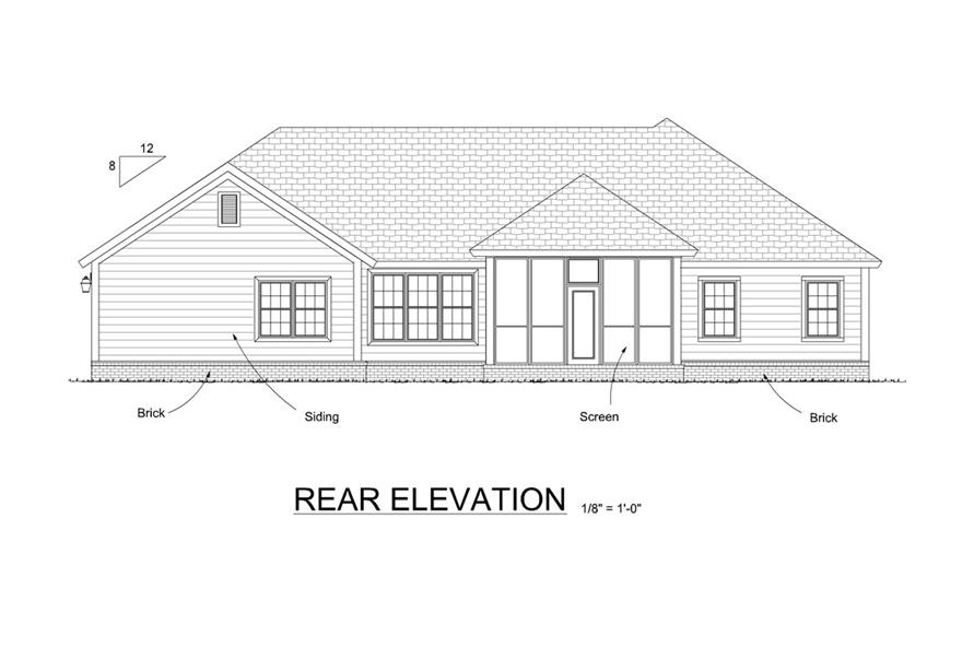 178-1297: Home Plan Rear Elevation