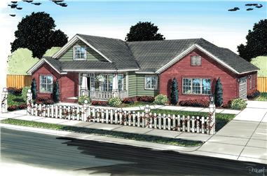 3-Bedroom, 2027 Sq Ft Traditional Home Plan - 178-1297 - Main Exterior