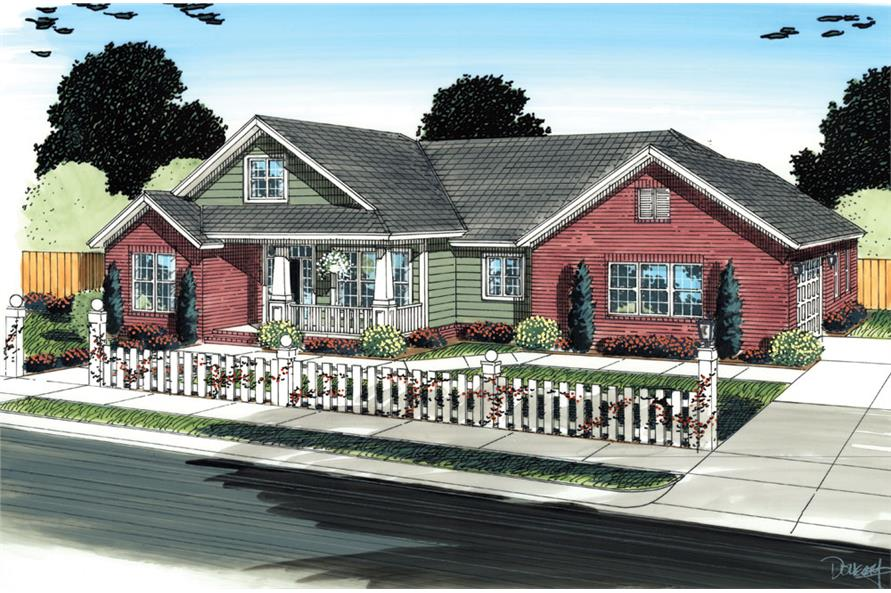Front elevation of Traditional home (ThePlanCollection: House Plan #178-1297)