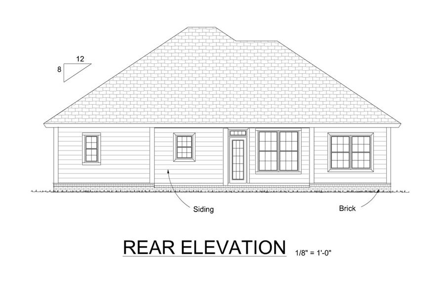 178-1299: Home Plan Rear Elevation