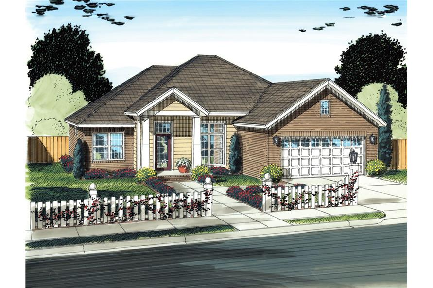 Front elevation of Country home (ThePlanCollection: House Plan #178-1299)