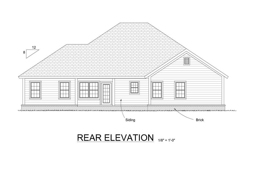 178-1300: Home Plan Rear Elevation