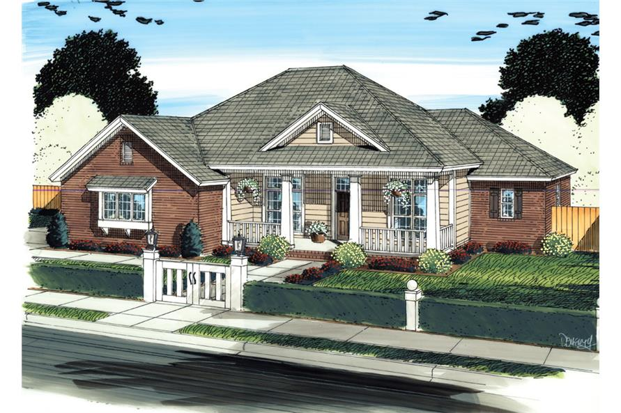 Front elevation of Country home (ThePlanCollection: House Plan #178-1300)