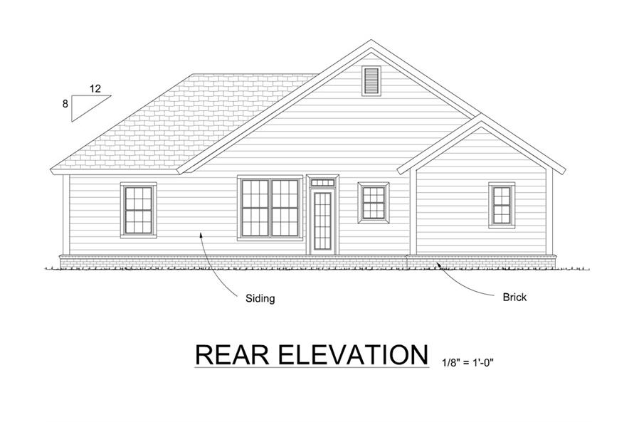 178-1301: Home Plan Rear Elevation