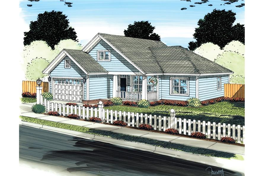 Front elevation of Traditional home (ThePlanCollection: House Plan #178-1301)