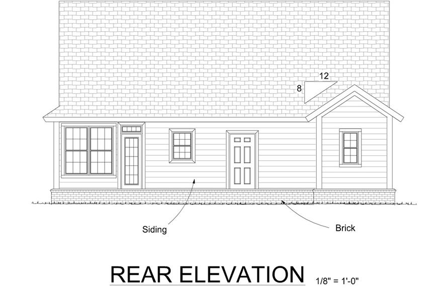 Home Plan Rear Elevation of this 3-Bedroom,1549 Sq Ft Plan -178-1302