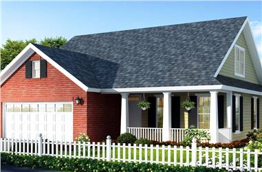Color rendering of Country home plan (ThePlanCollection: House Plan #178-1302)
